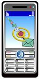 Mobil phone with e-mail Stock Image
