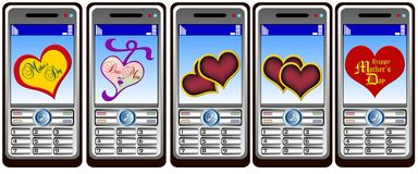 Mobil phone hearts Stock Photos