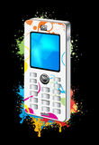 Mobil Phones. Vector drawing of isolated mobile phone or cell phone Royalty Free Stock Photography