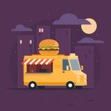 mobil rosa säljare för mat snabbmatleverans Mobil matbil Gatamatskåpbil Royaltyfria Bilder