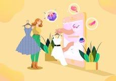 Mobil shoppa kvinnavektorillustration royaltyfri illustrationer