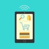 Mobil shopping stock illustrationer