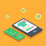 Mobil shopping med svars- eshopwebsiteapplikation Arkivfoton