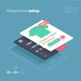 Mobil shopping med svars- eshopwebsiteapplikation Arkivbild
