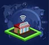 Mobil shoppinge-kommers Arkivfoto