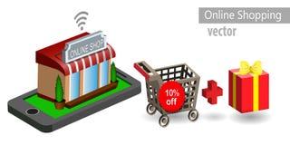 Mobil shoppinge-kommers royaltyfri illustrationer