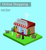 Mobil shoppinge-kommers stock illustrationer