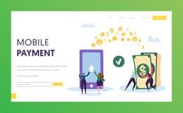 Mobil sida för landning för överföring för betalningtelefonkassa Online-bankplånbok i Smartphone Elektronisk transaktion stock illustrationer