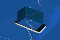 Mobil smart telefon och blå lyftande grafbakgrund royaltyfri illustrationer