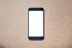 Mobil Smartphone modell med den vita tomma skärmen Arkivbild