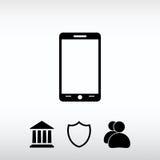 Mobil smartphonesymbol, vektorillustration Sänka designstil Arkivbild