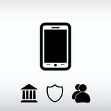 Mobil smartphonesymbol, vektorillustration Sänka designstil Royaltyfria Foton