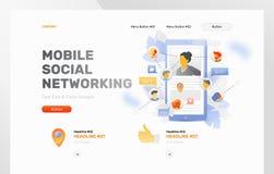 Mobil social knyta kontakt webbsidamall stock illustrationer