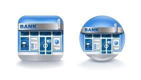 Mobil symbol för realistisk modern bank som isoleras på vit bakgrund Illustration för vektorgemkonst Arkivbilder