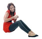 mobil talande kvinna Royaltyfri Bild
