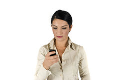 mobil telefon för affär genom att använda kvinnan Royaltyfria Foton