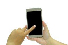 Mobil telefon för Touchskärm, i hand Arkivfoto