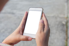 mobil telefon genom att använda kvinnan Royaltyfria Bilder