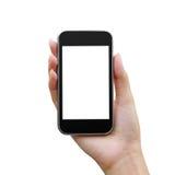 Mobil telefon i en kvinnahand Arkivbilder