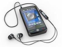 Mobil telefon med hörlurar. 3d royaltyfri illustrationer