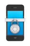Mobil telefon med låset vektor illustrationer