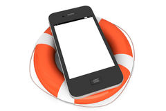 Mobil telefon med lifebuoy royaltyfri illustrationer