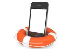 Mobil telefon med lifebuoy stock illustrationer