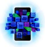 Mobil telefon med symboler royaltyfri illustrationer