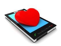 Mobil telefon och hjärta royaltyfri illustrationer