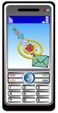 Mobil telefona con el email Imagen de archivo