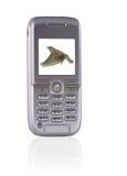Mobil telefona con il giocatore di musica immagini stock
