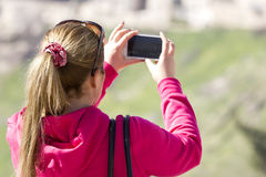 mobil telefonkvinna Arkivbild