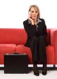 mobil telefonkvinna för affär Arkivfoton