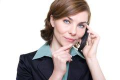 mobil telefonkvinna för affär Arkivbild