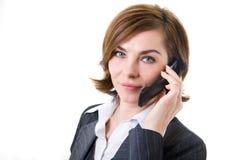 mobil telefonkvinna för affär Arkivfoto