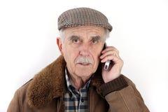 mobil telefonpensionär för man Royaltyfri Fotografi