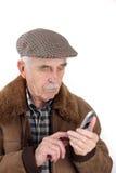 mobil telefonpensionär för man Arkivbilder