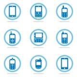 mobil telefonset för symbol Arkivbilder