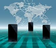 Mobil telefonvärldskommunikation Arkivbild