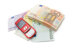 Mobil telephone & money Royalty Free Stock Photo
