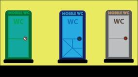 Mobil toalett - ecologic wc - 3 customizable färger - stock illustrationer