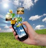 mobil tryckning för telefon Arkivbilder