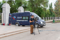 Mobil TV-station enägd rysk televisionchann Royaltyfri Fotografi