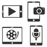 Mobil uppsättning för symbol för multimediavektorlägenhet Royaltyfri Foto