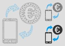 Mobil utbytesvektor Mesh Wire Frame Model för euro och mosaisk symbol för triangel stock illustrationer