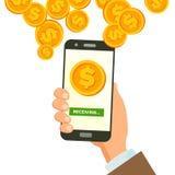 Mobil vektor för dollarhäleribegrepp Mänskligt handbaner Trådlöst begrepp för dollarfinanshäleri Valuta in royaltyfri illustrationer
