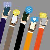 Mobila applikationer med social nätverkspratstund vektor illustrationer