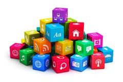 Mobila applikationer och massmediateknologibegrepp stock illustrationer