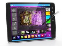 Mobila applikationer på TabletPC Arkivfoto