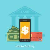 Mobila bankrörelsen, en illustration i en plan stilbyggnad, kontokort, pengar vektor illustrationer